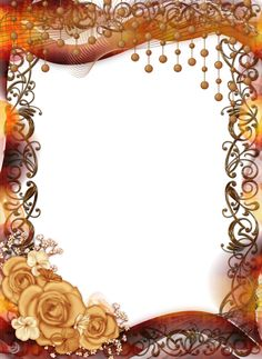 Transparent PNG Frame with Yellow Roses