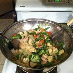Garlic Chicken Stir Fry Allrecipes.com  for all my sugar snap peas