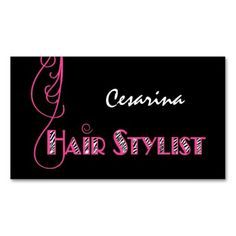 Girly Pink Zebra Hair Stylist Appointment Reminder Business Card Attract new customers and remind clients of their upcoming hair salon appointment with these girly pink and black animal print hairstylist business cards with cute hot pink curls o...