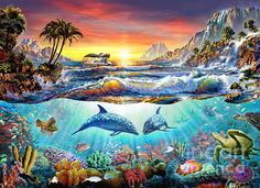 Adrian Chesterman Digital Art - Paradise Bay by MGL Meiklejohn Graphics Licensing Dolphin Painting, Dolphin Art, Underwater Painting, Underwater Life, Paradise Bay, Cartoon Sea Animals, Creation Photo, Arte Disney, Sea Art