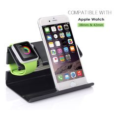 Amazon.com: Apple Watch Stand, iPhone 6 Stand, BENTOBEN Charging Stand Dock Station Cradle Nightstand for Apple Watch and iPhone with Cable Winder Detachable Construction Anti Slip Foam Cushion - Black: Cell Phones & Accessories