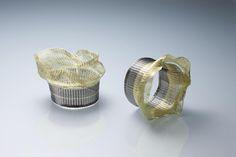 Kazumi Nagano - Bracelets. Gold, silver, nylon. Photo from http://mmrepo.exblog.jp