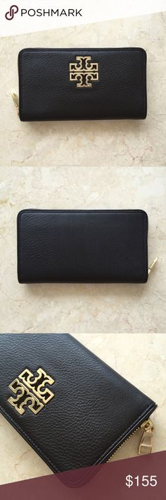 "Tory Burch Britten Zip Wallet in Black NWT Authentic. Brand new with tag and gift bag.  Color Black with gold hardware. Pebbled leather. Zipper closure.  8 credit card slots, 2 bill pockets, 1 interior zipper compartment, 2 compartments. Size 7.7x4.3"" Tory Burch Bags Wallets"