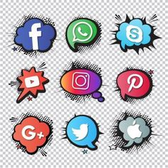 Set of social icons, comic style PNG and Vector Instagram Logo, Social Media Logos, Social Media Icons, Icon Set, Icon Design, Design Design, Graphic Design, Adobe Illustrator, Comic Kunst