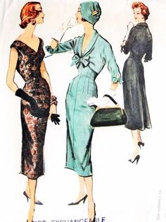 1950s Slim Evening Cocktail dress and Shortie Jacket Pattern Stunning Style Back Fullness Low V Necklines McCalls 4254 Vintage Sewing Pattern Bust 36