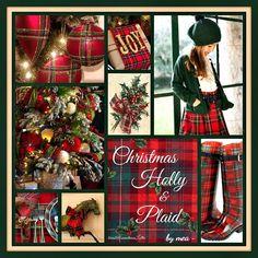 Love the Tartan Plaid . Western Christmas, Tartan Christmas, Christmas Collage, Magical Christmas, Christmas Mood, Christmas Colors, Christmas Ideas, Christmas 2014, Vintage Christmas Images