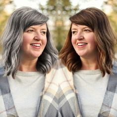 Growing out our gray hair is a hugely personal decision. Long Silver Hair, Short Grey Hair, Short Hair Styles, Gray Hair Growing Out, Grow Hair, Grey Hair At 40, Going Gray Gracefully, Aging Gracefully, Over 40 Hairstyles