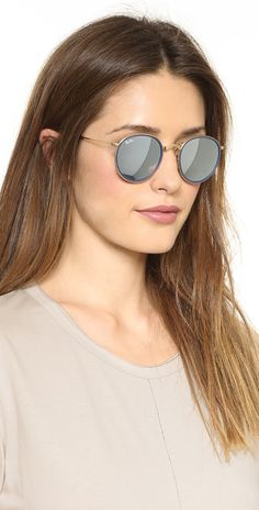Ray-Ban Mirrored Round Foldable Icon Sunglasses | SHOPBOP