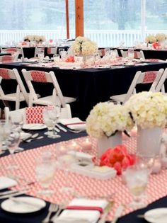 coral color, coral linens, coral wedding   This is well done because coral is so strong, need to use it correctly