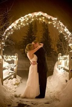 Winter Wedding Photography - we could almost set this up with our arbour and willow decor...