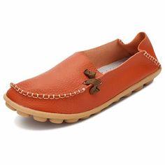 Big Size Pure Color Soft Leather Sole Confortável Lace Up deslizar sobre planos Loafers