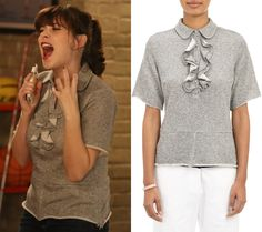 Jess Day (Zooey Deschanel) will be wearing this grey ruffled sweatshirt with a peter pan collar in the next episode of New Girl, Oregon
