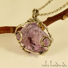 Natural Stone Fluorite Crystal Pendant German Silver Wire Wrapped Jewelry #MBAHandmade #Wrap