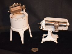 Antique Miniature Arcade Cast Iron Washer & Steam Press Doll Dollhouse Set