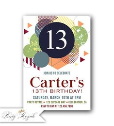 Les garçons 13 Invitations d'anniversaire, 13e anniversaire invite garçon, 12 Invitations d'anniversaire, Invitations d'anniversaire 11, 10ème anniversaire Invitation #printables #invitations #printableinvitations #anniversaire #anniversary #cards #mariage #wedding #diy #diycrafts