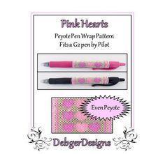 Pink Hearts G2 Pen Wrap-Beaded Flat Peyote Pattern