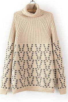 High Collar Loose Pullover Knitted Sweater