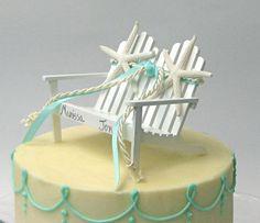 Beach Wedding  Adirondack Chair Cake Topper Or Decoration cakepins.com