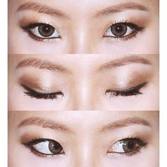 a gorgeous and simple everyday look. line your eyes with black eyeliner, pat gold/brown eyeshadow on your lid, smudge the same gold/brown shadow on your lower lashline, and highlight your inner tear duct. || #monolid #monolids #monolidmakeup #asiangirl #asianmakeup #koreanmakeup #koreanstyle #eyeliner #stylenanda ||