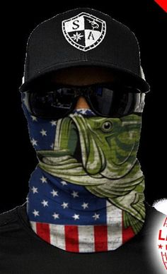 Bandana Mask Neck Scarf Headwear UV Stripe R//W//B Stealth Creatures Face Sock™