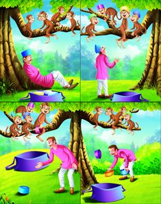 Story of a cap seller and monkeys - Buy this stock illustration and explore similar illustrations at Adobe Stock English Moral Stories, Short Moral Stories, English Stories For Kids, Moral Stories For Kids, Short Stories For Kids, English Story, Kids English, Dog Stories, Kids Story Books