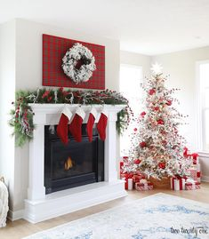 Red Tartan Christmas Mantel and Red and White Christmas Tree #christmasdecorations #christmasmantle