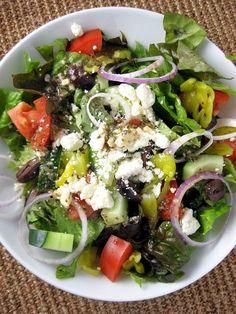 Tossed Greek Salad with Greek Vinaigrette | A Hint of Honey