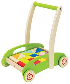 Hape Block and Roll Cart Toddler Wooden Push and Pull Toy  Make way! The Block and Roll Cart from Hape will have children zooming past on their feet in no time. This innovatively designed push and pull toy features a sturdy wooden frame to provide kids a safe, stable base to lean on as they walk farther and farther each day, and brightly painted blocks that add even more entertainment. Solve the puzzle of this cart by arranging the blocks so that each one fits into the cart in one la..