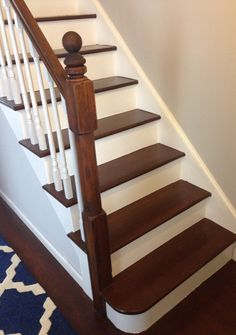 This Staircase Went From An Oak Finish To This Beautiful Painted Staircase;  Very Good DIY Explanation!! | My House Is My Home | Pinterest | Beautiful,  ...