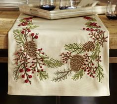 SO in love with this Pottery Barn Pinecone & Berry Embroidered Table Runner Christmas Crafts, Christmas Decorations, Holiday Decor, Xmas, Christmas Runner, Table Accessories, Christmas Embroidery, Holiday Tables, Hot Pads