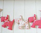 Cute  Pink/Floral Scottie Dog Garland