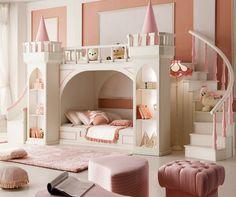 aménagement chambre enfant en couleur marsala avec des tabourets et lit mezzanine