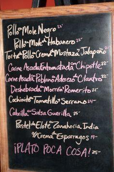 Cafe Poca Cosa - famous chalkboard menu
