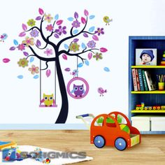 Wandtattoo Eule Baum für Kinderzimmer Cartoon Wandsticker Wandaufkleber FWT009 | eBay