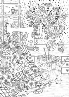 Playful Kitty And Sewing Machine Printable Coloring Page From Favoreads