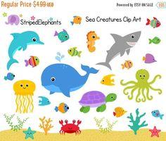 El 30% DE criaturas marinas Clip Art bajo el por StripedElephants