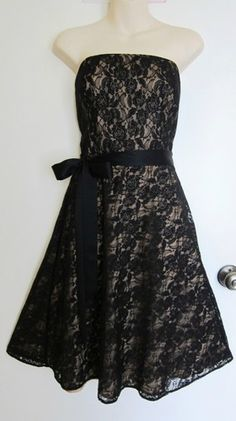 Ann Taylor Loft Lace LBD Dress Black 50s A Line Retro Strapless Romantic s 6 | eBay $14.99