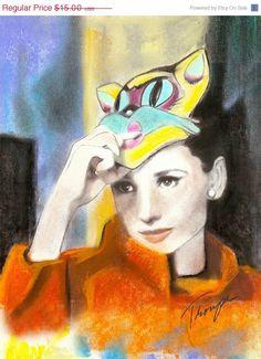 Audrey Cat Mask Original Pastel Pencil Charcoal by RadicallyRetro