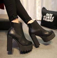 Moda Para mujeres Cuero Sintético Zapatos De Plataforma Grueso Talón Tobillo Botas Talla 9 Caballero