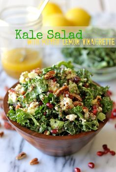 4 cups chopped kale 1 avocado, diced 1/2 cup cooked quinoa 1/2 cup pomegranate seeds 1/2 cup chopped pecans 1/4 cup crumbled goat cheese For the Meyer lemon vinaigrette: 1/4 cup olive oil 1/4 cup apple cider vinegar Zest of 1 Meyer lemon 3 tablespoons freshly squeezed Meyer lemon juice 1 tablespoon agave