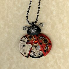 Steampunk Red Ladybug Necklace Polymer Clay Jewelry by Polymer Clay Charms, Polymer Clay Art, Polymer Clay Earrings, Vintage Jewelry, Handmade Jewelry, Diy Jewelry, Clock Art, Bee Necklace, Unusual Jewelry