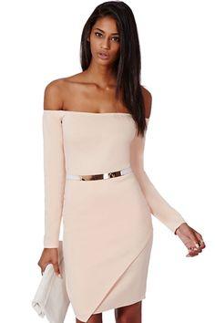 Stylish Blush, Off Shoulder Dress.