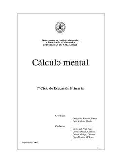 CÁLCULO  MENTAL  1º CICLO COMPLETO
