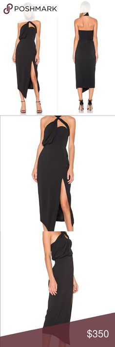 MISHA COLLECTION x REVOLVE Triviata Dress Misha Collection dress in black as seen on JoJo Fletcher on The Bachelorette. SOLD OUT ITEM. ONLY WORN ONCE. Underwire bust, 100% poly, Fully lined, neck band with button closures, side slit. MISHA COLLECTION Dresses