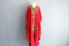 Moroccan Dubai Red Kaftan Dress  Plus Size Maxi Caftan by Yosika