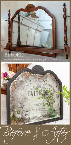Before and After | DIY French Antiqued Mirror | Salvaged Inspirations #furnituremakeover #diyfurniture #paintingfurniture #estatesalefurniture #bedroomsetmakeover #siblog #dixiebellepaint #redesignwithprima #furnituretransfer #antiquedmirror #mirrorrestyle #furnituretransfers #furniturereveal #furnitureflip #mirrors