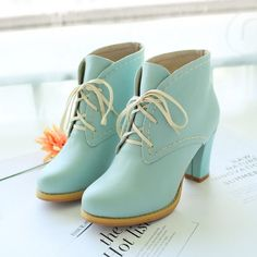 Adorable Pastel Blue Lace up Chunky Heel Boots