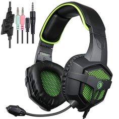 2016 SADES SA-807 Multi-Platform Gaming Headset, Wired Over-Ear Headphones with Mic Revolution for PC Mac Laptop iPad iPod New Xbox one PS4 (Black&Green): Amazon.co.uk: Computers & Accessories