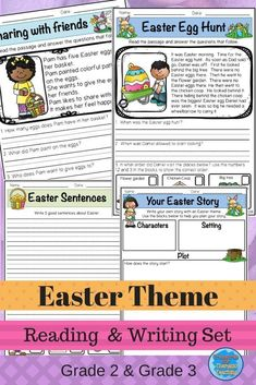 Easter Themed Reading and Writing Set:  The set includes a Easter word mat for vocabulary, cards that can be used for games, reading passages and activities and writing activities.  #readingandwriting #easter #teacherspayteachers #treasuresforthematicteac
