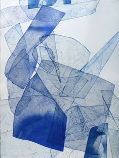 Eben Goff - Batholith Etching, Monoprint - Similar color of Cyanotype, but maybe luminous water color. Beautiful use of shaped control of colors. Art And Illustration, Cyanotype, Grafik Design, Art Design, Art Plastique, Oeuvre D'art, Graphic, Painting & Drawing, Encaustic Painting